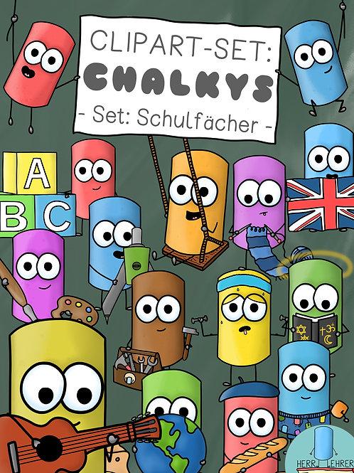 Clipart-Set: Die Chalkys (Schulfächer)