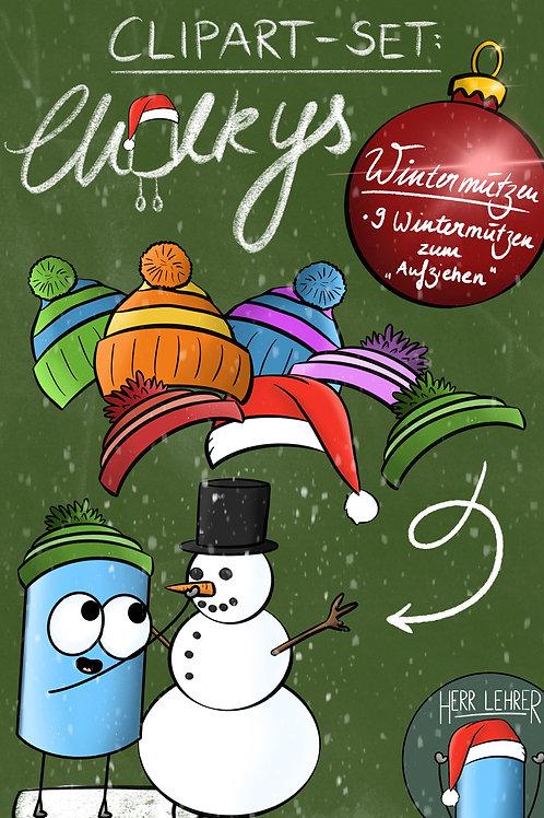 Clipart-Set: Die Chalkys (Wintermützen-Set)