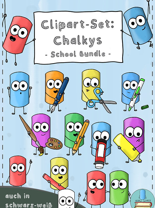 Clipart-Set: Die Chalkys (School Bundle)