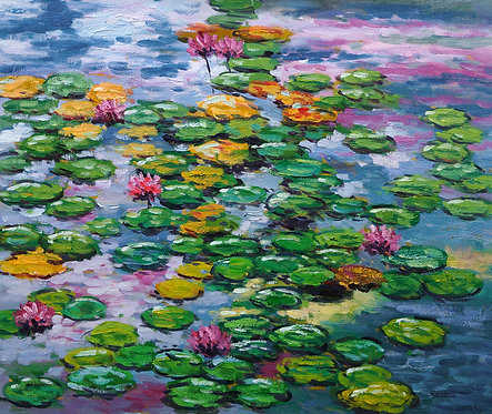 floating lilies painting