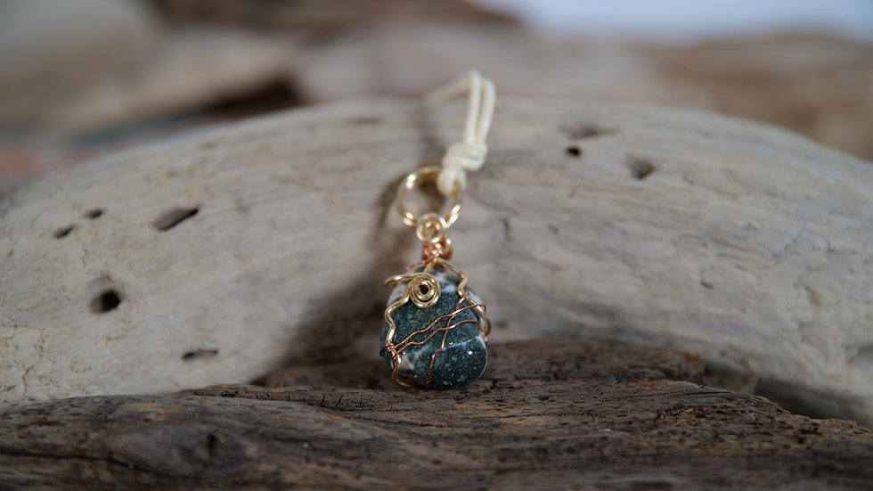 Tree Agate Wire Wrapped Crystal Necklace
