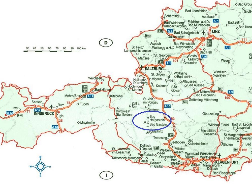 mapa valle de gastein