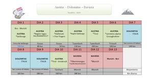 calendario ruta por austria, dolomitas, baviera