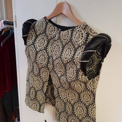 Janet, our sewing volunteer, fashioned this beautiful Tudor Over-Jacket from scraps of left over material