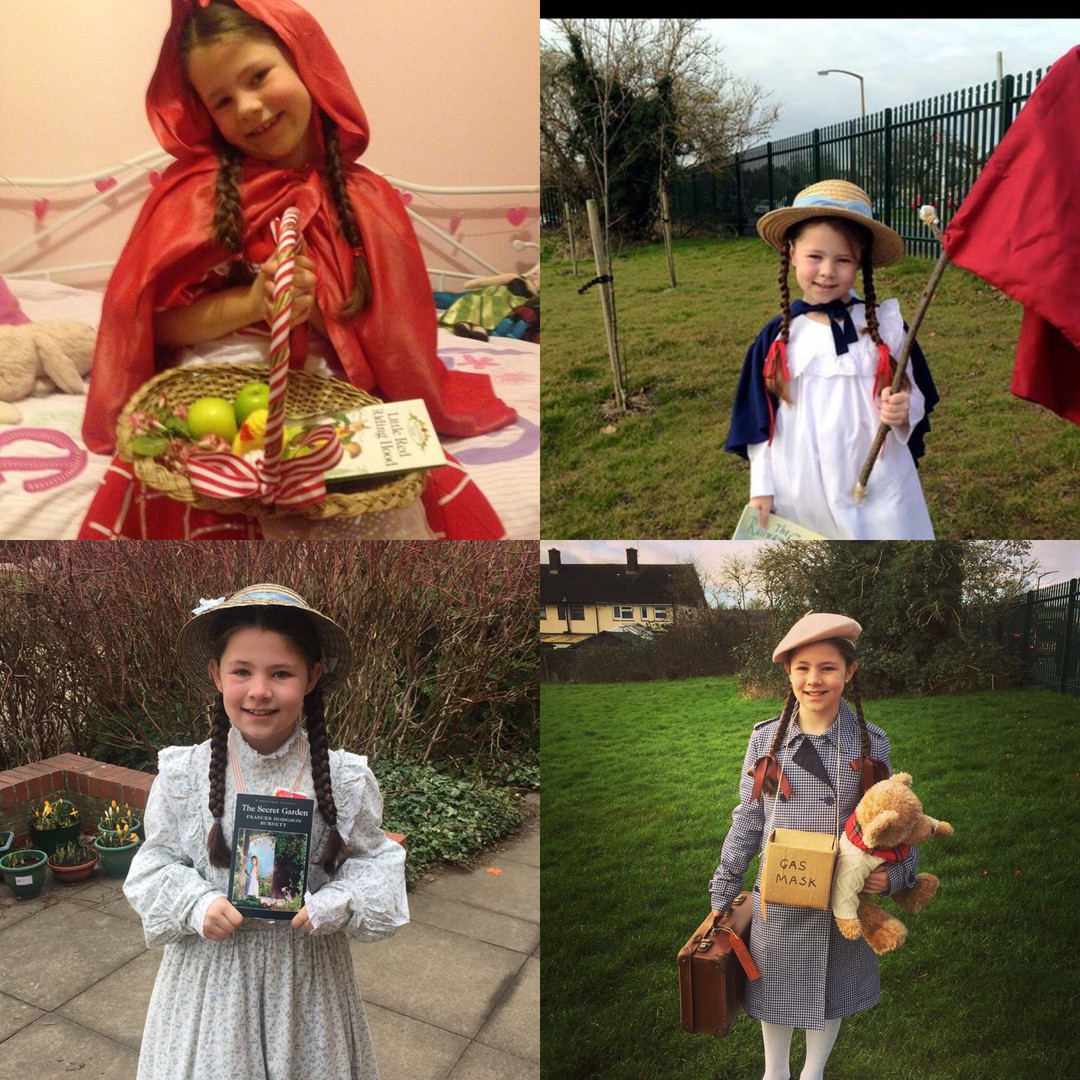 From left to right: Red Riding Hood; Bobbie from the Railway Children; Mary from the Secret Garden; WW2 Evacuee