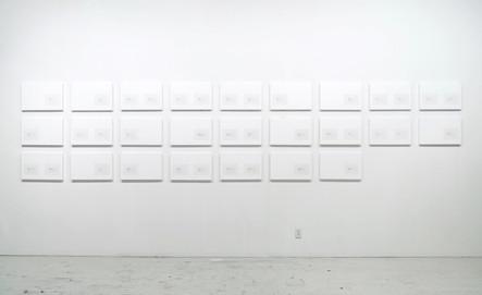 Catalogue nº 11 (Exhibition), 2014-16, acrylique et encre sur toile, 25 éléments de 32 x 50 cm
