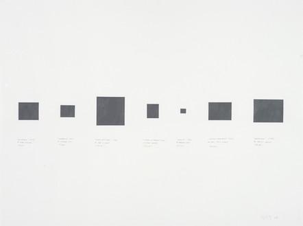 Équivalence (1959) de Guido Molinari, Quadrature (1955) de Fernand Leduc, Miroir sans image (1971) de Jean McEwen, L'Ombre au tableau (1957) d'Ulysse Comtois, Blackout (1961) de Paterson Ewen, Silence instantanné (1956) de Paul-Émile Borduas, Mnémosyne (1988) de Charles Gagnon, 2004, acrylique sur papier, 56 x 76 cm (Collection privée)