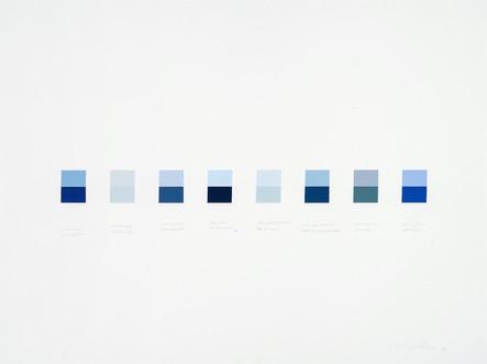 Clear Sky-Lake Superior, Morning Fog-Thunder Bay, Ciel d'octobre-Baie d'Ungava, Plein ciel-Bas du fleuve, Brouillard maritime-Baie de Fundy, Ciel des maritimes-Détroit de Northumberland, Ciel pluvieux-Goose Bay, Ciel d'été-Atlantique, 2006, acrylique sur papier, 56 x 76 cm (Collection privée)