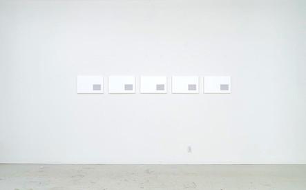 Catalogue nº 9 (Clouded Vision), 2015, acrylique sur toile, 5 éléments de 32 x 50 cm (Collection privée)
