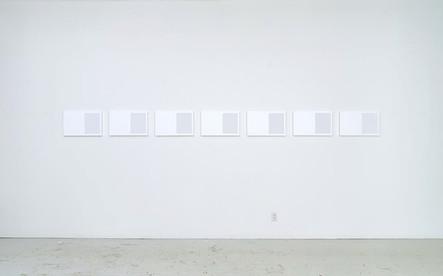 Catalogue nº 7 (Studio Wall), 2015, acrylique sur toile, 7 éléments de 32 x 50 cm