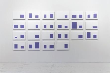 Catalogue nº 1 (Léthargie), 2013, acrylique sur toile, 22 éléments de 32 x 50 cm
