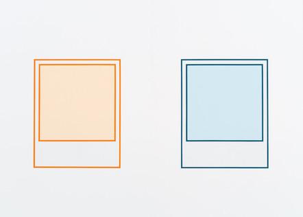 Prototype (orange nº 2) / Prototype (turquoise), 2018, acrylique sur toile, 152 x 213 cm