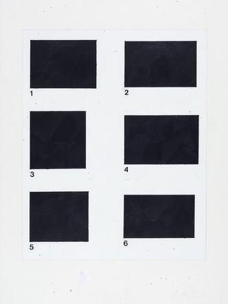 1-6, 2001, acrylique sur papier, 51 x 38 cm