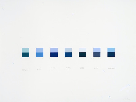 Brume de mer-Océan Pacifique, Ciel canadien-Baie d'Hudson, Ciel d'été-Lac Huron, Ciel blanc-Baie James, Ciel de jour-Lac St-Jean, Ciel dégagé-Mer du Labrador, 2004, acrylique sur papier, 56 x 76 cm (Collection privée)