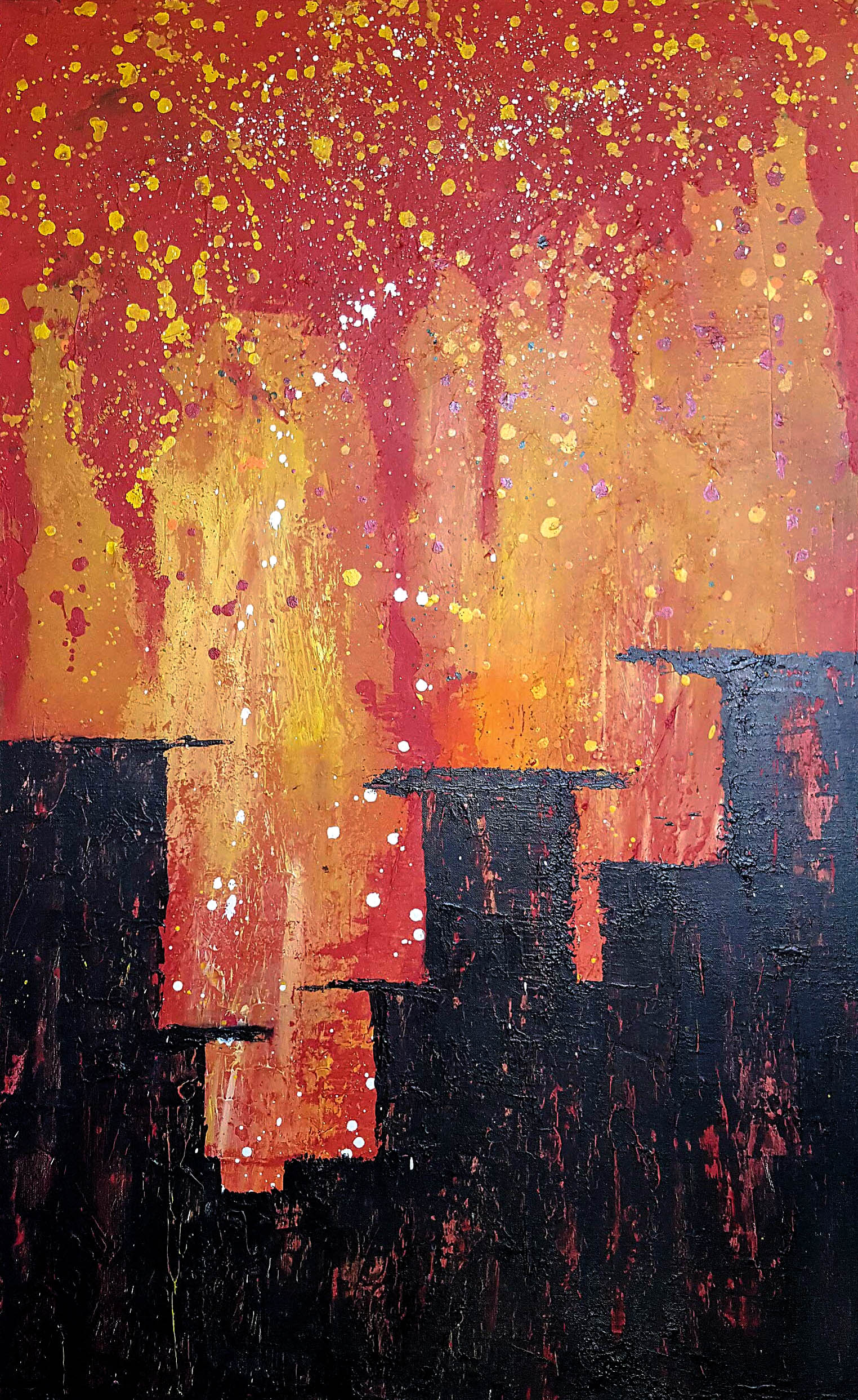 city on fire painting