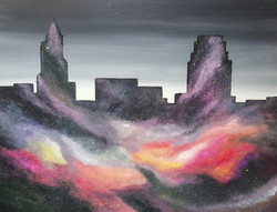 raleigh skyline painting