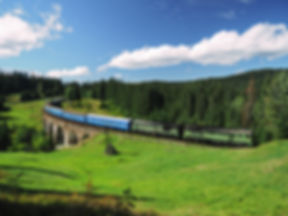 Carpatian mountains train summer landsca
