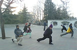 Early morning stretches at the emperors palace gardens Beijing China