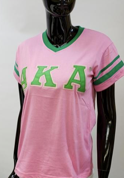 Alpha Kappa AlphaV-Neck Striped Tee