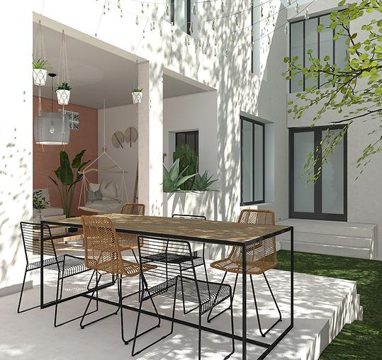 Terrasse - Vers terrasse couverte et ouv