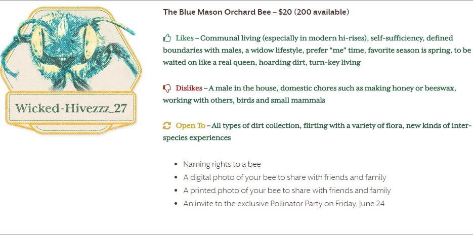 The Blue Mason Orchard Bee List_Adopt A