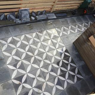 Large garden re-design and stone patio installation in Middelburg, Netherlands.