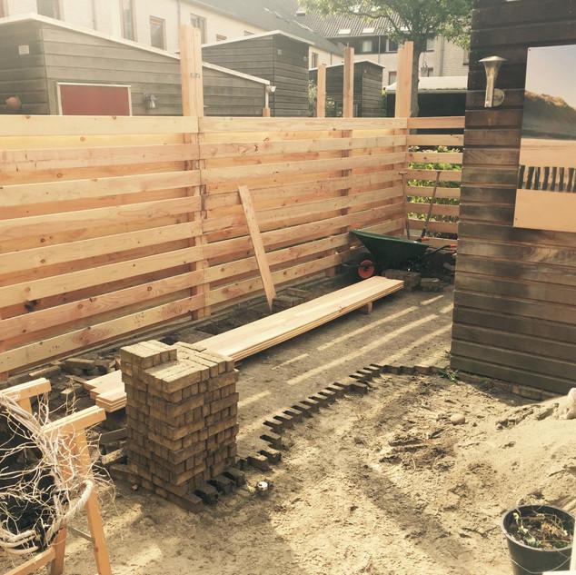 Building garden fences in Middelburg, Netherlands.