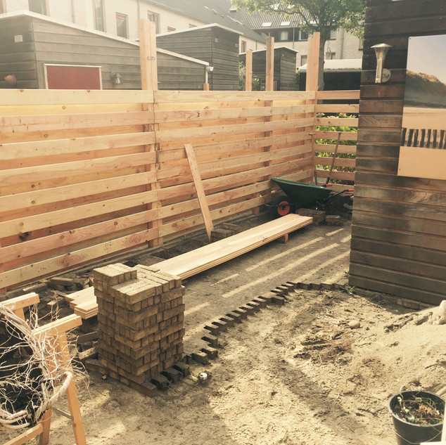 Building garden fences in Middelburg, Netherlands.