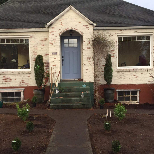 I was asked to lime wash an old brick house to make it look like a European cottage that was weather-woren and felt like a home. Whidbey Island.