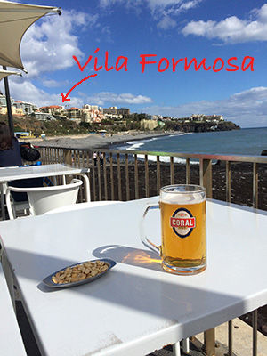 Praia Formosa beach cafe in Madeira by Mark Blezard