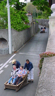 The famous 'wicker basket' ride from Monte in Madeira
