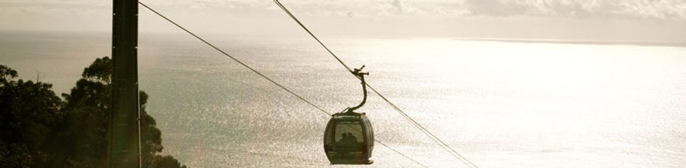 Taking the cable car to Monte in Funchal, Madeira