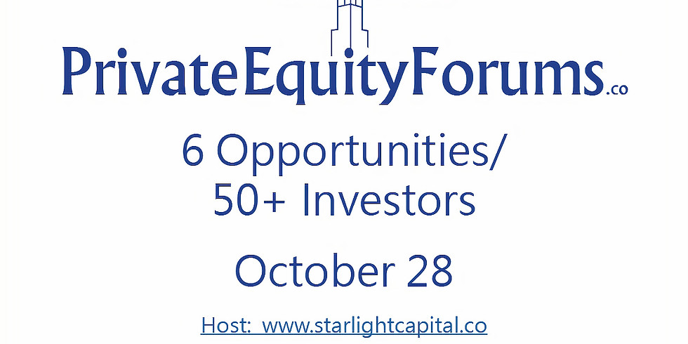 Private Equity Forums - Real Estate, October 28.