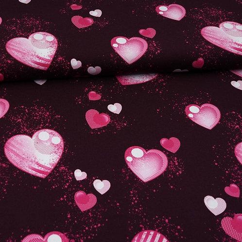 French Terry - Herzen pink auf lila - Glitzerpüppi