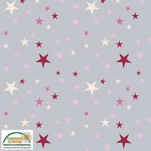 Avalana Jersey pink-weiße Sterne auf grau - Stof