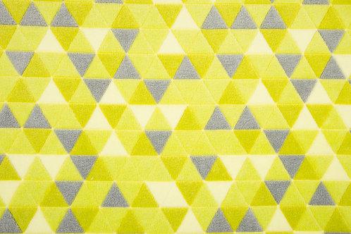 Fleece Jacquard print Triangles lime