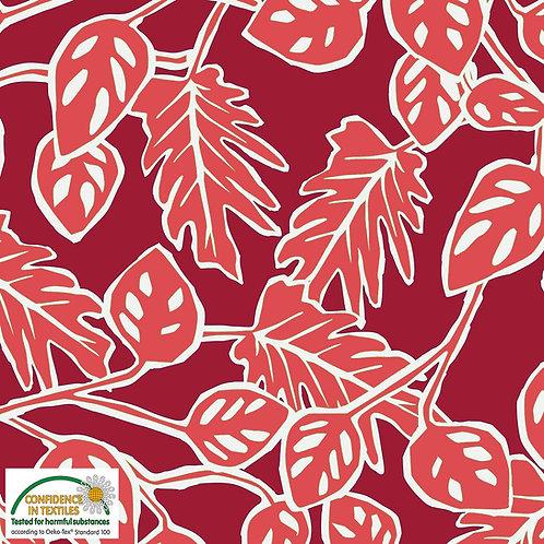 Avalana Jersey Viscose rot / Blätter - STOF