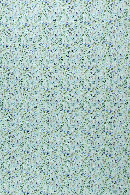 BW Jersey Little Spring mint - Vögel, Zweige 160cm - Swafing