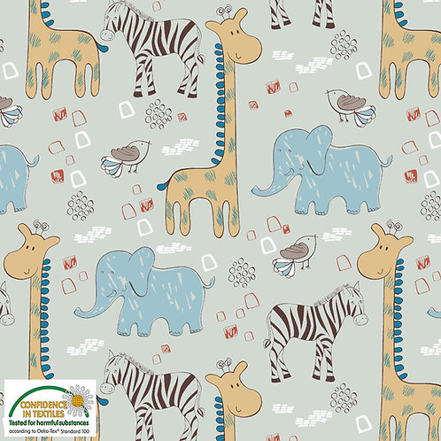 Avalana Jersey hellblau / Giraffe Elefant STOF