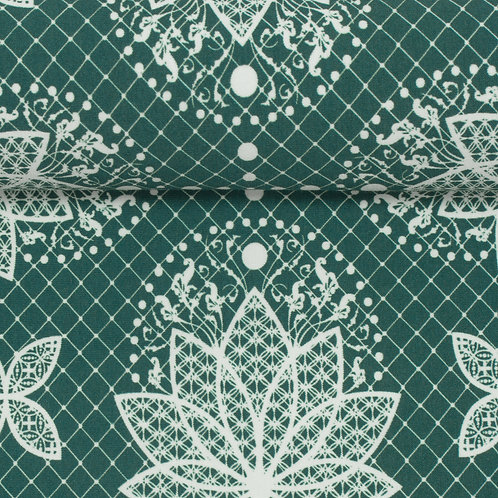 Jersey Lotus Dreams grün/weiss by lycklig design - Swafing