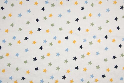 BW Batist Cotton Voile bestickt Sterne blau/grün/gelb
