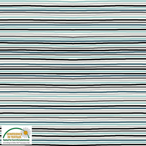 Jersey grau/türkis/mint  Streifen - STOF
