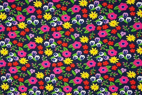 Jersey BW/EA 95/5% Flowers navy gelb/pink/lila