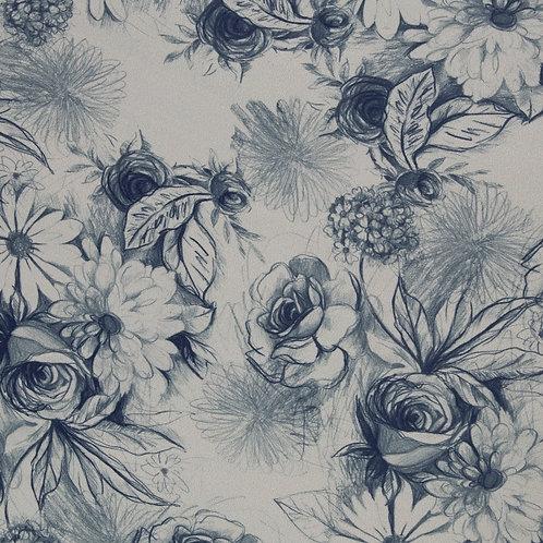 BW Sweat BASEL Blumen blau - Swafing