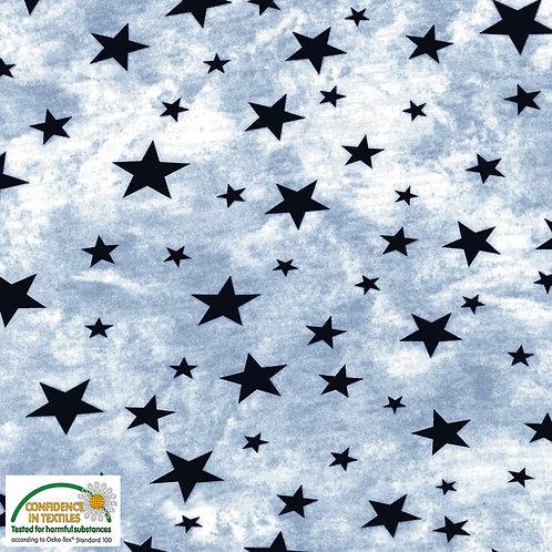 Jersey du'blaue Sterne auf hellblau - AVALANA - STOF
