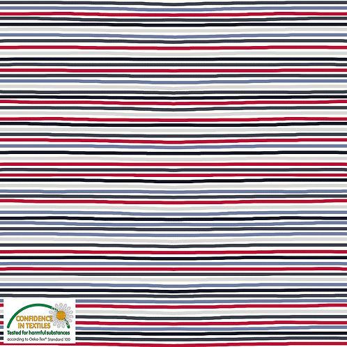 Jersey Streifen rot/blau - STOF