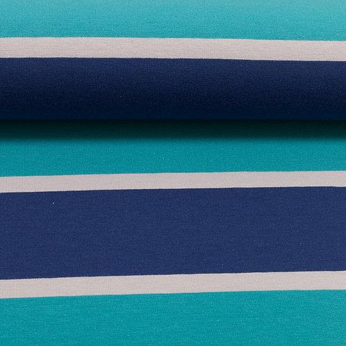 Jersey Streifen blau 160cm - Swafing