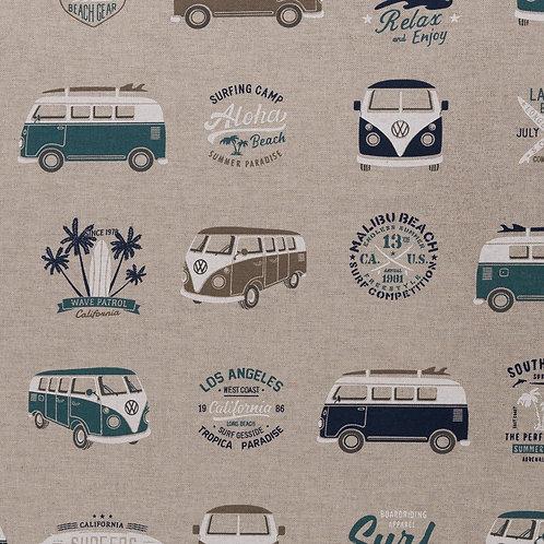 Leinenoptik Emilio VW-Bus beige-blau 140cm Swafing