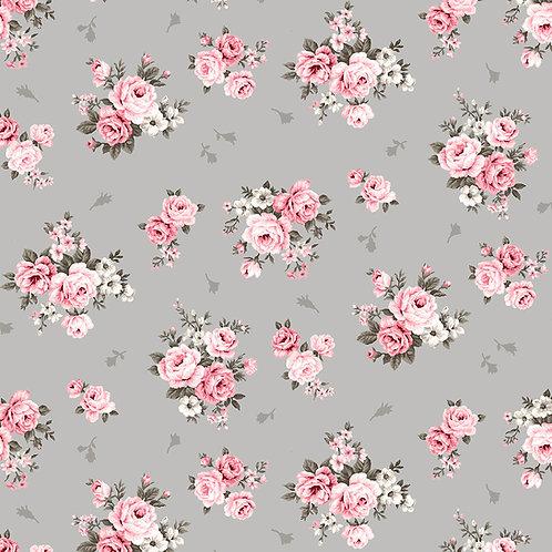 Avalana Jersey grau/rosa Streublümchen - STOF