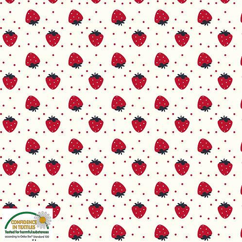 Avalana Jersey Erdbeeren auf natur - STOF